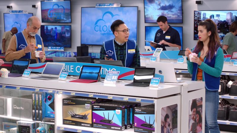Microsoft Surface Pro and Netgear Nighthawk in Superstore - Season 4, Episode 22, Employee Appreciation Day (2019) TV Show Product Placement