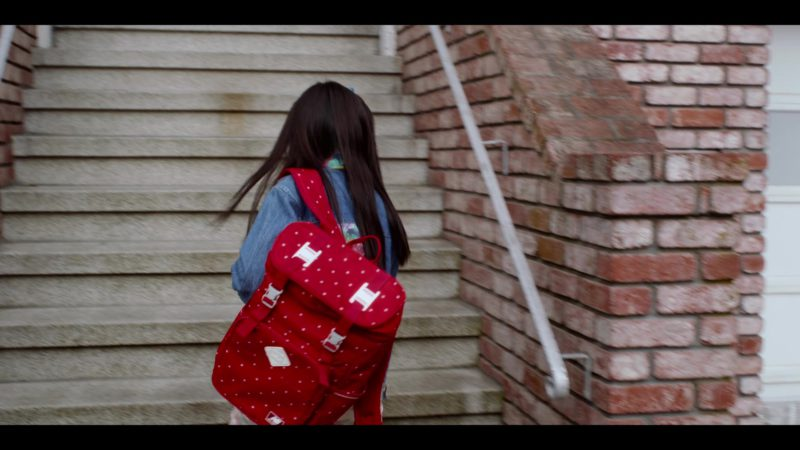 NB Red Polka Dot Backpack Worn by Miya Cech in Always Be My Maybe (2019) - Movie Product Placement