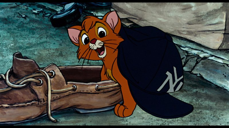 NY Yankees Cap in in Oliver & Company (1988) Animation Movie Product Placement