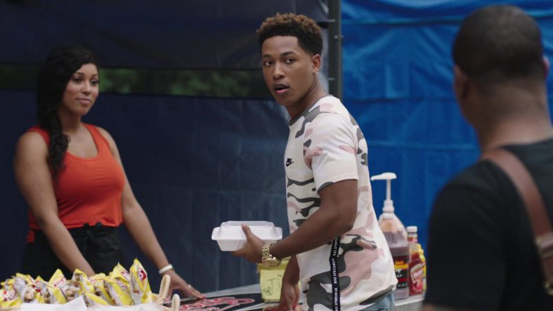Nike Camo T-Shirt Worn by Emmett Played by Jacob Latimore in The Chi - Season 2, Episode 6, A Leg Up (2019) TV Show Product Placement