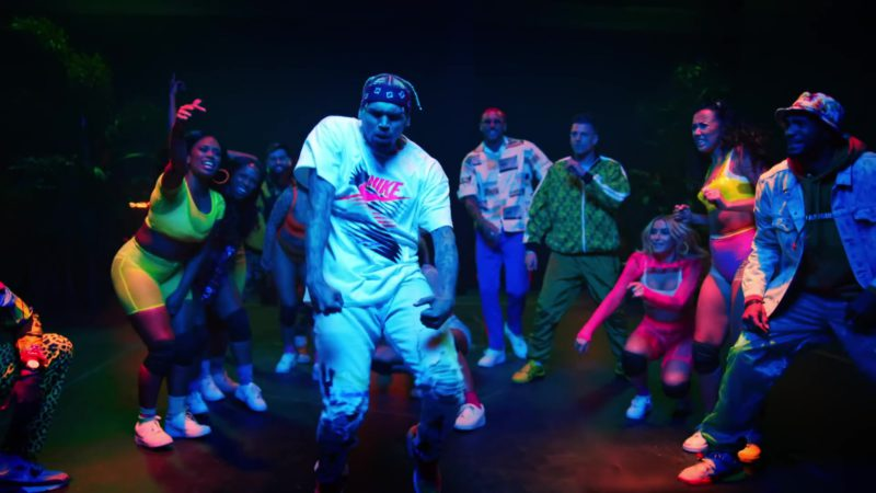 """Nike White Tee With Pink Logo Worn by Chris Brown in """"Wobble Up"""" ft. Nicki Minaj, G-Eazy (2019) Official Music Video Product Placement"""