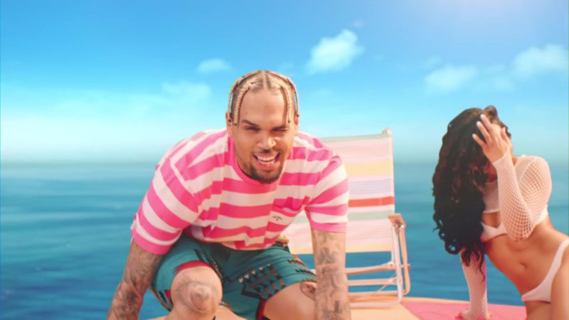 """Noah T-Shirt Worn by Chris Brown in """"Wobble Up"""" ft. Nicki Minaj, G-Eazy (2019) Official Music Video Product Placement"""