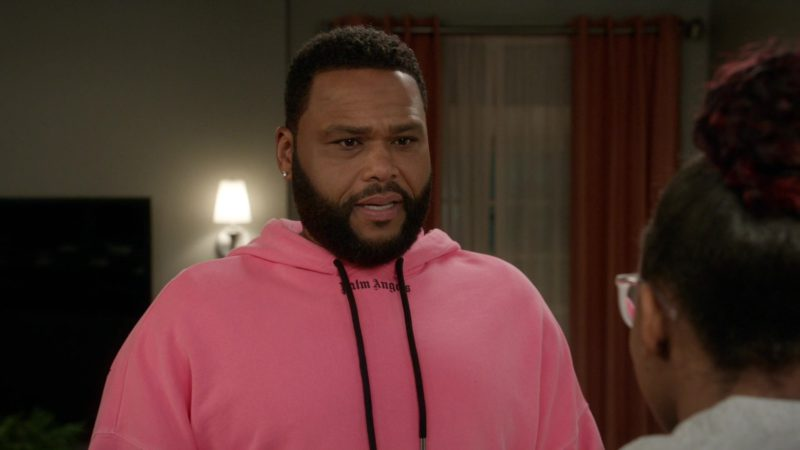 Palm Angels Pink Hoodie Worn by Anthony Anderson in Black-ish - Season 5, Episode 22, Is It Desert or Dessert? (2019) TV Show Product Placement
