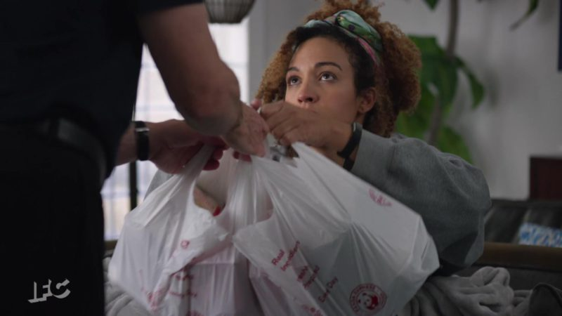 Panda Express Plastic Bags Held by Tawny Newsome in Brockmire - Season 3, Episode 6, Placed on Waivers (2019) - TV Show Product Placement