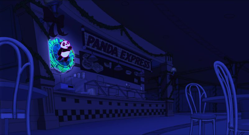 Panda Express Restaurant in Eight Crazy Nights (2002) Animation Movie Product Placement
