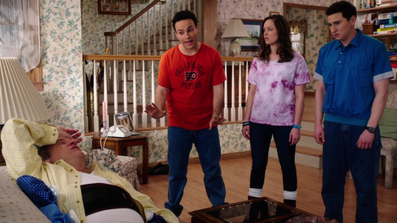 Philadelphia Flyers Ice Hockey Team T-Shirt Worn by Troy Gentile in The Goldbergs - Season 6, Episode 22, Mom Trumps Willow (2019) - TV Show Product Placement