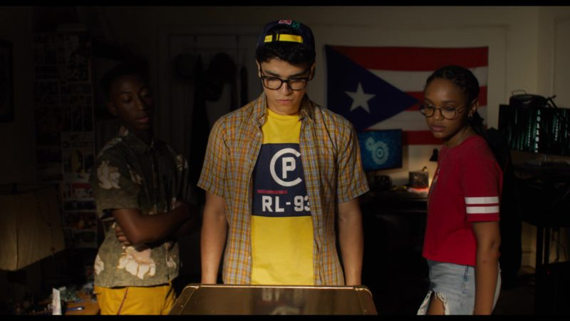 Ralph Lauren RL-93 Logo Yellow Tee Worn by Johnathan Nieves in See You Yesterday (2019) - Movie Product Placement
