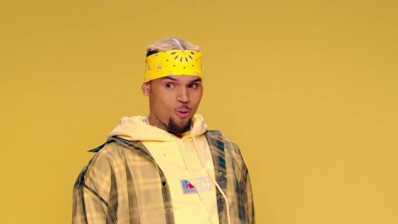 "Russell Athletic x KITH Yellow Hoodie Worn by Chris Brown in ""Wobble Up"" ft. Nicki Minaj, G-Eazy (2019) - Official Music Video Product Placement"