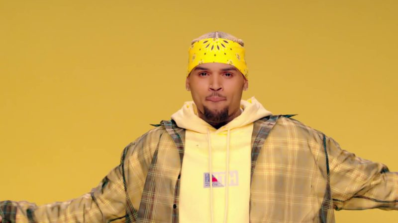 """Russell Athletic x KITH Yellow Hoodie Worn by Chris Brown in """"Wobble Up"""" ft. Nicki Minaj, G-Eazy (2019) Official Music Video Product Placement"""