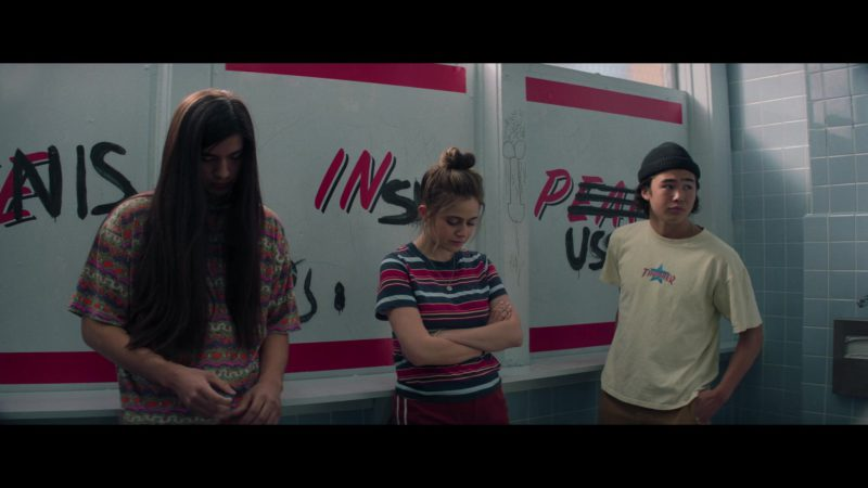 Thrasher T-Shirt Worn by Nico Hiraga in Booksmart (2019) Movie Product Placement