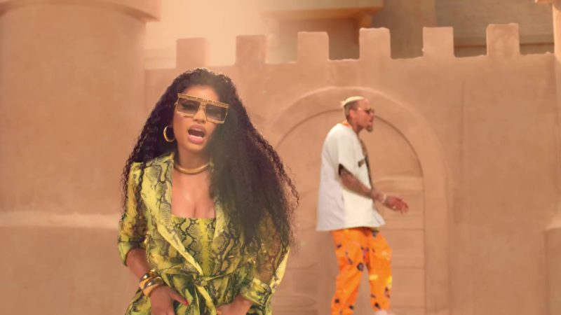 "Versace Sunglasses Worn by Nicki Minaj in ""Wobble Up"" by Chris Brown ft. G-Eazy (2019) Official Music Video Product Placement"