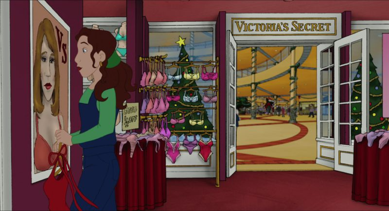 Victoria's Secret Store in Eight Crazy Nights (2002) Animation Movie Product Placement