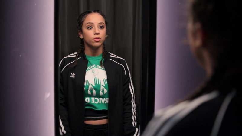 "Adidas Women's Black Track Jacket Worn by Kiana Madeira in Trinkets - Season 1, Episode 3, ""P*ssy Palace"" (2019) - TV Show Product Placement"