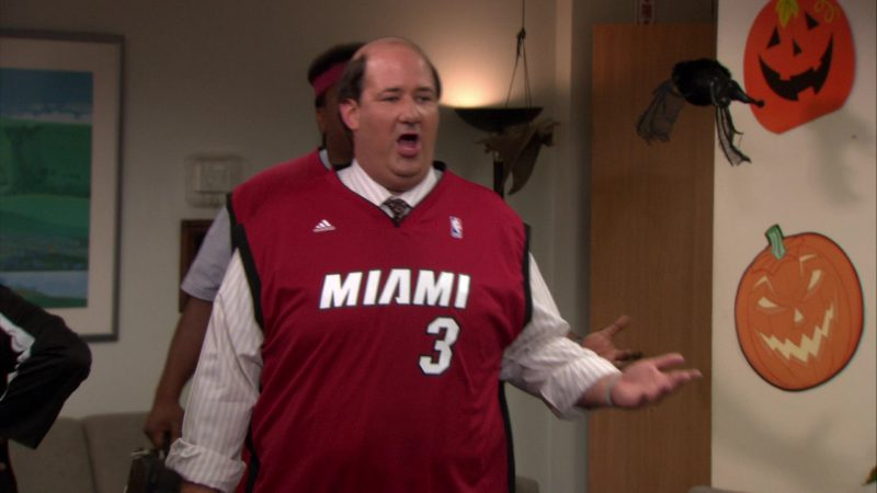 """Adidas x Miami Heat NBA Jersey Worn by Brian Baumgartner (Kevin Malone) in The Office – Season 8, Episode 5, """"Spooked"""" (2011) - TV Show Product Placement"""