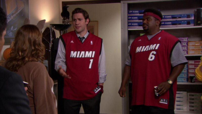 """Adidas x Miami Heat NBA Jersey Worn by Craig Robinson (Darryl Philbin) in The Office – Season 8, Episode 5, """"Spooked"""" (2011) TV Show Product Placement"""