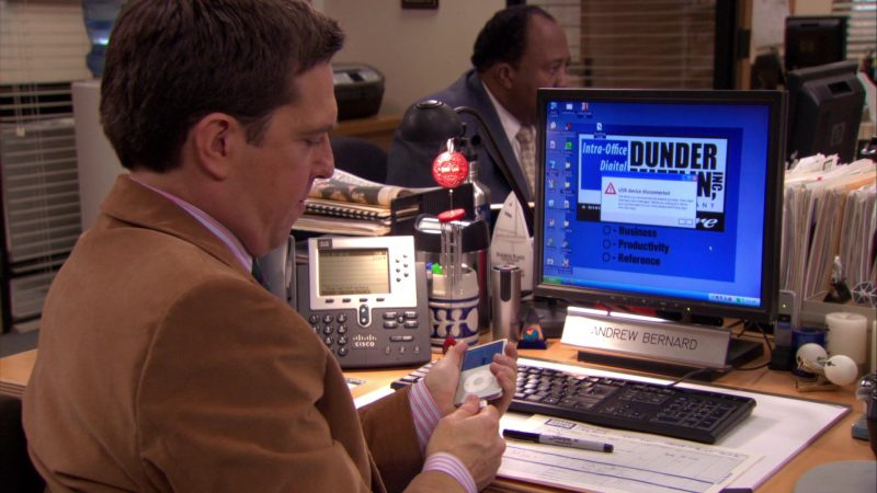 """Apple iPod Media Player and Cisco Phone Used by Ed Helms (Andy Bernard) in The Office – Season 7, Episode 18, """"Todd Packer"""" (2011) - TV Show Product Placement"""