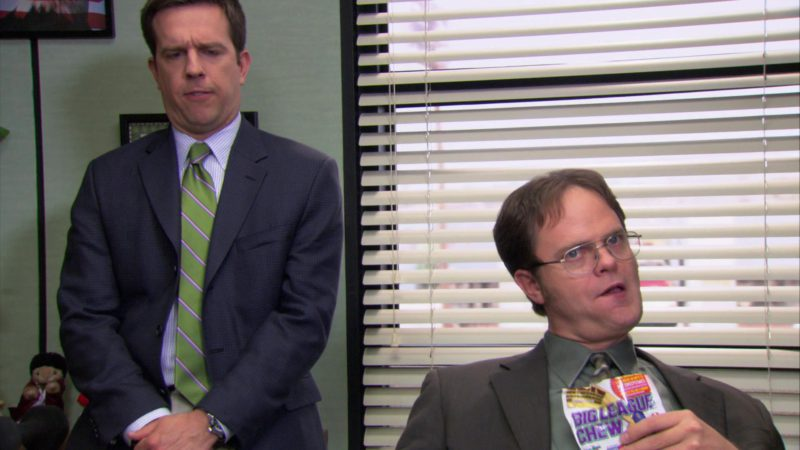 "Big League Chew Bubble Gum Held by Rainn Wilson (Dwight Schrute) in The Office – Season 3, Episodes 24-25, ""The Job"" (2007) - TV Show Product Placement"