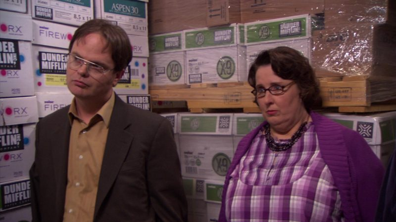 """Boise Fireworx and X-9 Paper in The Office – Season 5, Episode 26, """"Casual Friday"""" (2009) - TV Show Product Placement"""