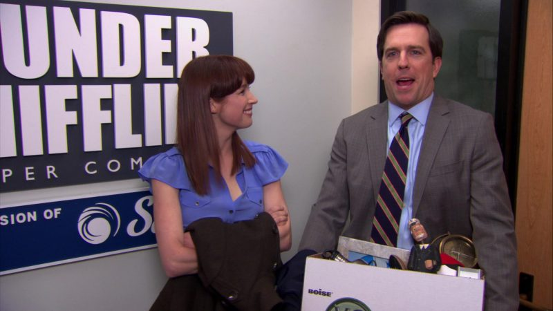 "Boise Paper (X-9) Box Held by Ed Helms (Andy Bernard) in The Office – Season 8, Episode 21, ""Angry Andy"" (2012) - TV Show Product Placement"