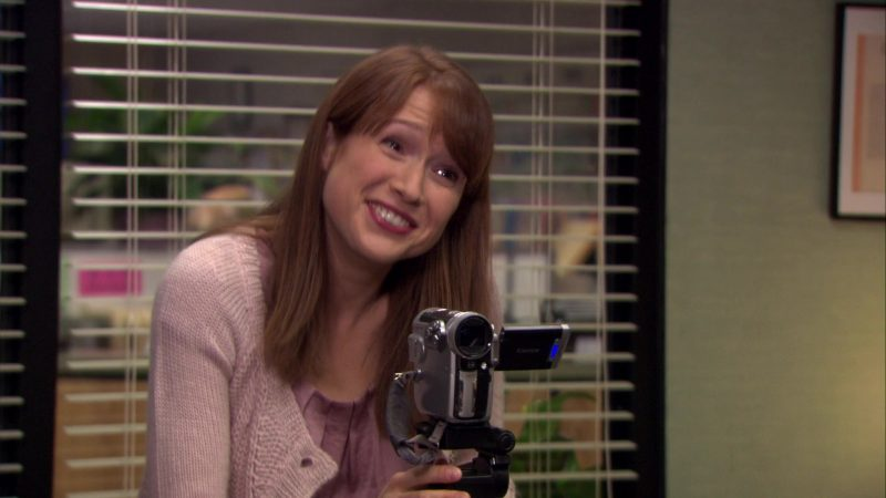 "Canon Camcorder Used by Ellie Kemper (Erin Hannon) in The Office – Season 7, Episode 13, ""Ultimatum"" (2011) TV Show Product Placement"