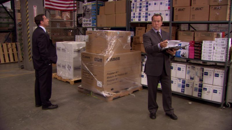 "Canon and BIC Boxes in The Office – Season 6, Episode 14, ""The Banker"" (2010) - TV Show Product Placement"