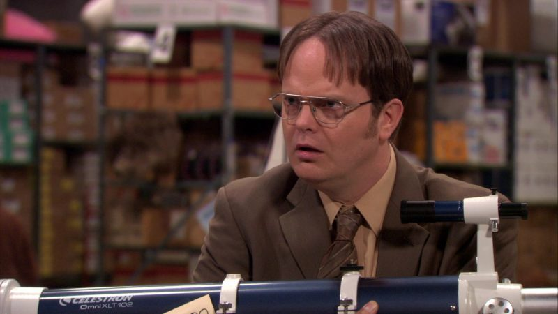 "Celestron Telescope Held by Rainn Wilson (Dwight Schrute) in The Office – Season 7, Episode 19, ""Garage Sale"" (2011) - TV Show Product Placement"