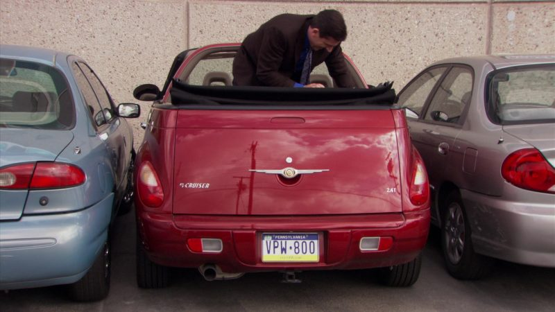 "Chrysler PT Cruiser Convertible Red Car Used by Steve Carell (Michael Scott) in The Office – Season 5, Episode 23, ""Michael Scott Paper Company"" (2009) - TV Show Product Placement"