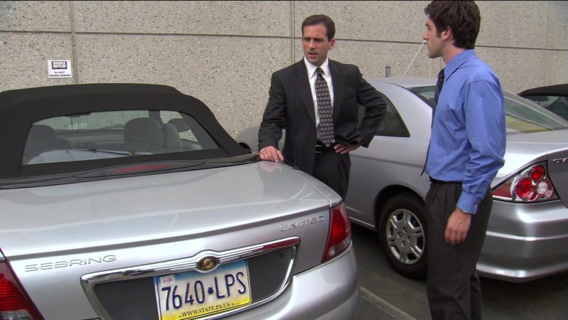 "Chrysler Sebring Convertible Car Used by Steve Carell (Michael Scott) in The Office – Season 2, Episode 4, ""The Fire"" (2005) TV Show Product Placement"