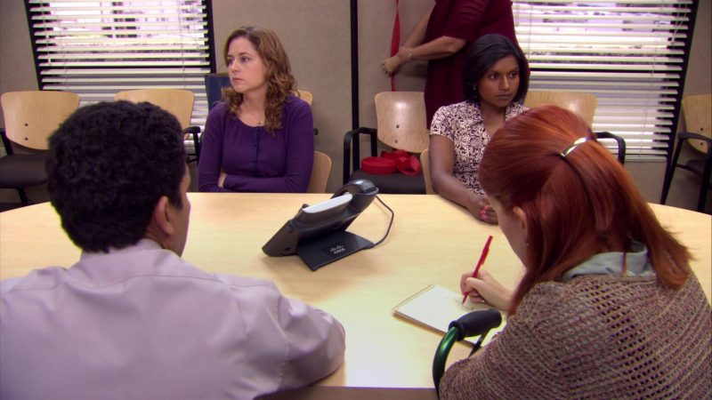 """Cisco IP Phone Used by Jenna Fischer (Pam Beesly) in The Office – Season 4, Episodes 5-6, """"Launch Party"""" (2007) - TV Show Product Placement"""