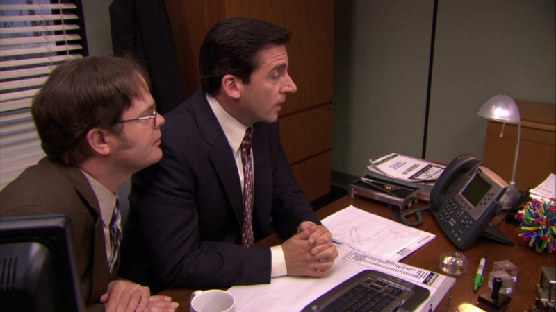 """Cisco IP Phone Used by Steve Carell (Michael Scott) & Rainn Wilson (Dwight Schrute) in The Office – Season 5, Episode 20, """"New Boss"""" (2009) - TV Show Product Placement"""