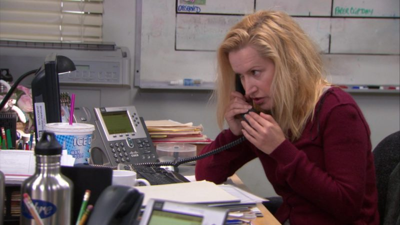 """Cisco Phone Used by Angela Kinsey (Angela Martin) in The Office – Season 9, Episode 21, """"Livin' the Dream"""" (2013) - TV Show Product Placement"""