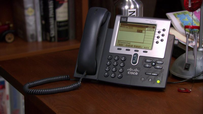 """Cisco Phone Used by Ed Helms (Andy Bernard) in The Office – Season 9, Episode 1, """"New Guys"""" (2012) - TV Show Product Placement"""