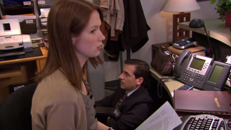 """Cisco Phone Used by Ellie Kemper (Erin Hannon) in The Office – Season 6, Episode 24, """"The Cover-Up"""" (2010) - TV Show Product Placement"""
