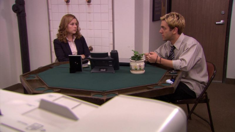 """Cisco Phone Used by Jenna Fischer (Pam Beesly) & B. J. Novak (Ryan Howard) in The Office – Season 5, Episode 23, """"Michael Scott Paper Company"""" (2009) TV Show Product Placement"""
