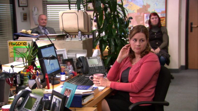 """Cisco Phone Used by Jenna Fischer (Pam Beesly) in The Office – Season 8, Episode 20, """"Welcome Party"""" (2012) TV Show Product Placement"""