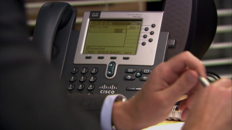 "Cisco Phone Used by John Krasinski (Jim Halpert) in The Office – Season 6, Episode 3, ""The Promotion"" (2009) - TV Show Product Placement"