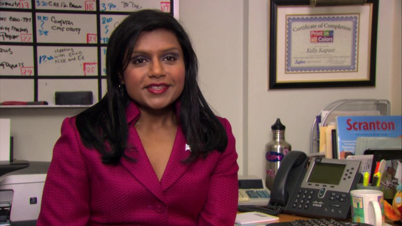 """Cisco Phone Used by Mindy Kaling (Kelly Kapoor) in The Office – Season 7, Episode 1, """"Nepotism"""" (2010) TV Show Product Placement"""