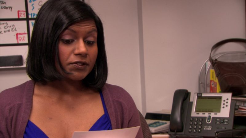 """Cisco Phone Used by Mindy Kaling (Kelly Kapoor) in The Office – Season 5, Episode 18, """"Blood Drive"""" (2009) - TV Show Product Placement"""