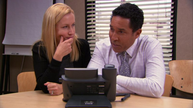 "Cisco Phone Used by Oscar Nunez (Oscar Martinez) & Angela Kinsey (Angela Martin) in The Office – Season 9, Episode 18, ""Promos"" (2013) - TV Show Product Placement"