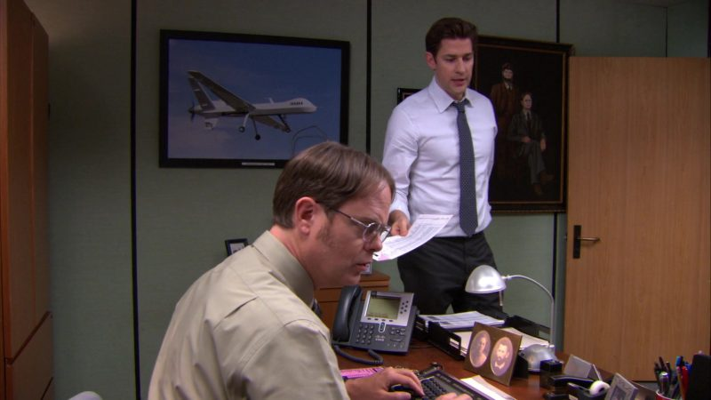 "Cisco Phone Used by Rainn Wilson (Dwight Schrute) in The Office – Season 9, Episodes 22-23, ""A.A.R.M."" (2013) - TV Show Product Placement"