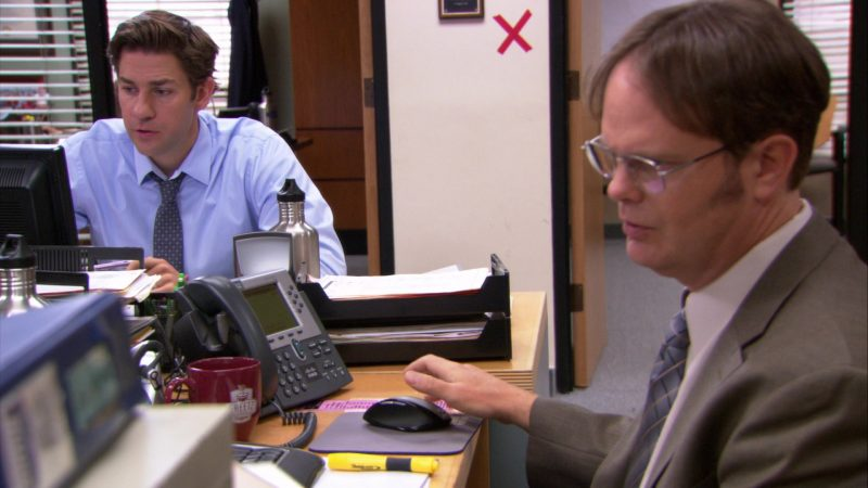 """Cisco Phone Used by Rainn Wilson (Dwight Schrute) in The Office – Season 9, Episode 4, """"Work Bus"""" (2012) - TV Show Product Placement"""
