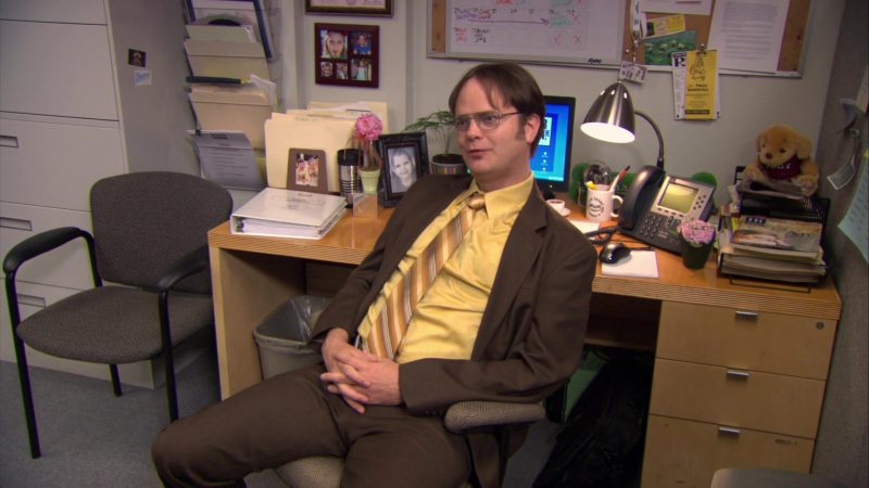 """Cisco Phone Used by Rainn Wilson (Dwight Schrute) in The Office – Season 6, Episode 14, """"The Banker"""" (2010) TV Show Product Placement"""