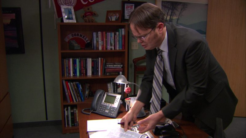 """Cisco Phone Used by Rainn Wilson (Dwight Schrute) in The Office – Season 9, Episode 15, """"Couples Discount"""" (2013) TV Show"""