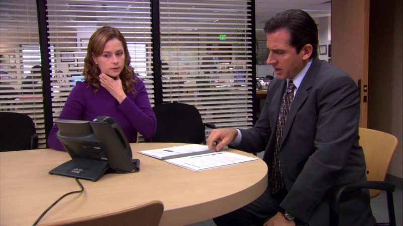 "Cisco Phone Used by Steve Carell (Michael Scott) & Jenna Fischer (Pam Beesly) in The Office – Season 4, Episode 10, ""Branch Wars"" (2007) - TV Show Product Placement"