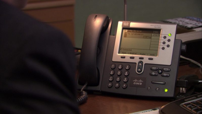"""Cisco Phone Used by Steve Carell (Michael Scott) in The Office – Season 7, Episode 4, """"Sex Ed"""" (2010) TV Show Product Placement"""