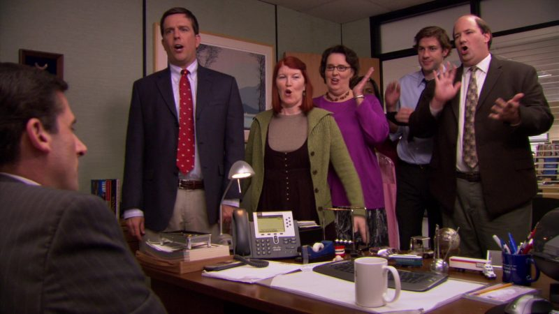 """Cisco Phone Used by Steve Carell (Michael Scott) in The Office – Season 5, Episode 7, """"Customer Survey"""" (2008) - TV Show Product Placement"""