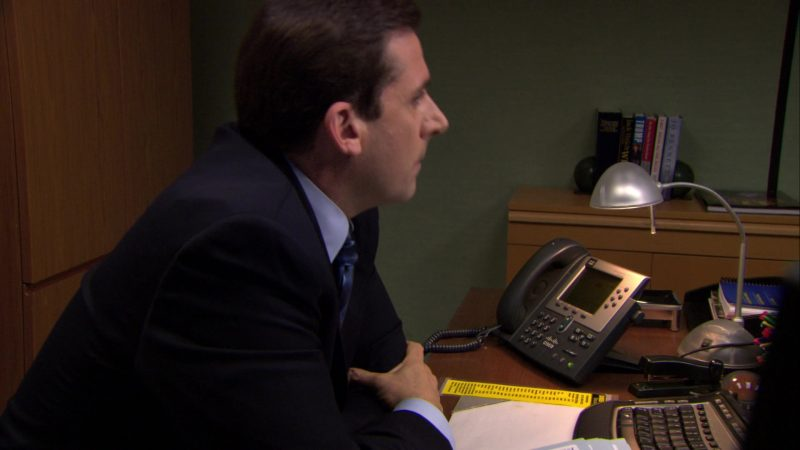 """Cisco Phone Used by Steve Carell (Michael Scott) in The Office – Season 6, Episode 20, """"New Leads"""" (2010) - TV Show Product Placement"""
