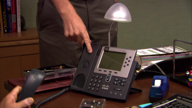 """Cisco Phone Used by Steve Carell (Michael Scott) in The Office – Season 6, Episode 1, """"Gossip"""" (2009) TV Show Product Placement"""