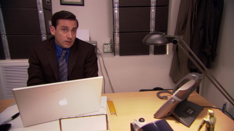 """Cisco Phone and Apple MacBook Pro Laptop Used by Steve Carell (Michael Scott) in The Office – Season 5, Episode 23, """"Michael Scott Paper Company"""" (2009) - TV Show Product Placement"""