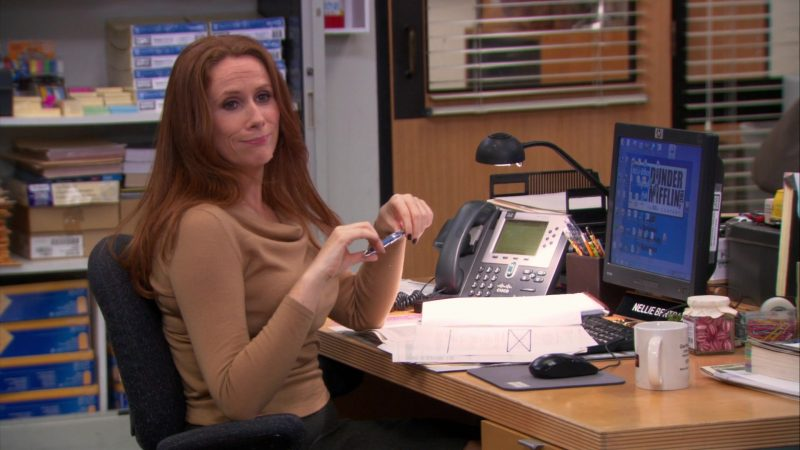 """Cisco Phone and HP Monitor Used by Catherine Tate (Nellie Bertram) in The Office – Season 9, Episode 15, """"Couples Discount"""" (2013) - TV Show Product Placement"""